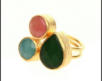 3 stone bronze and gold plated ring