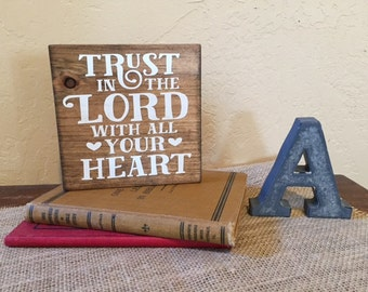 "Handmade wooden sign ""Trust in the Lord"" // Faith Sign // Rustic Decor // Inspirational Sign"