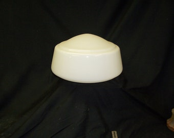 Vintage  milk glass   School house  shade  14  inch   5-7/8ths fitter
