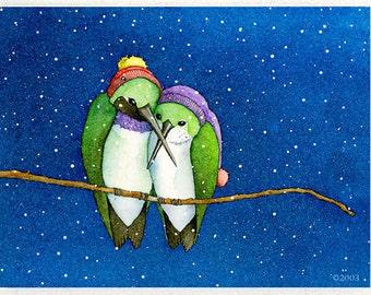 Hummingbirds in Hats (Snowbirds) Card