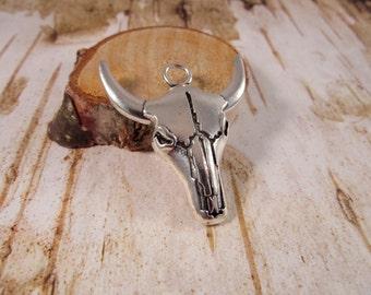 SILVER BULL-IT Bull Head Pendant, Steer Head Pendant, Steerhead Pendant, Bullhead Pendant, Western Wear