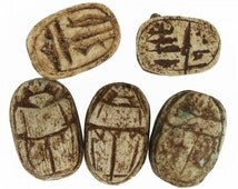 Vintage Egyptian carved scarab beetles beads, 1960's. Sold individually. (b2-608)