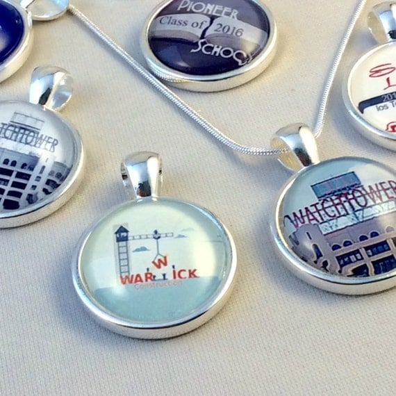 JW Circle Pendant -Choice of Watchtower Sign, Warwick, Pioneer School, Etc. Blue Velvet Gift Bag Included! #12