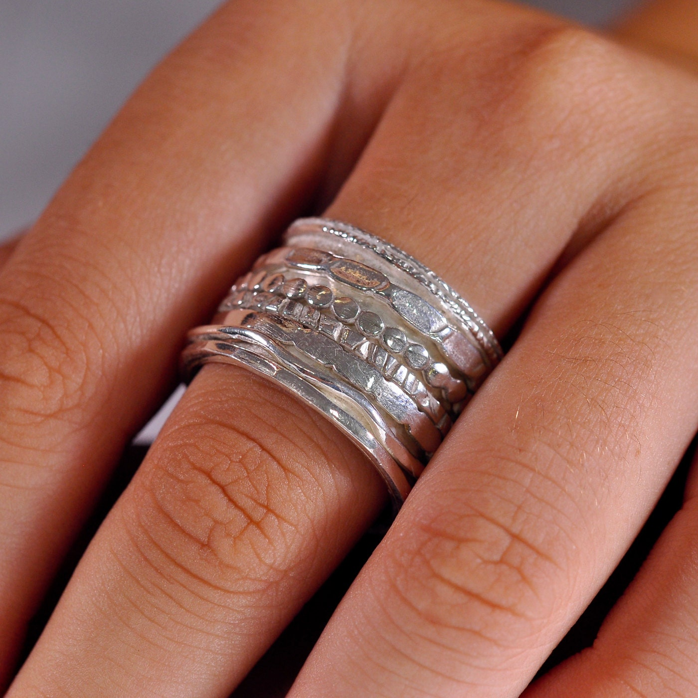 SALE Wide Spinner Ring Anxiety Ring Meditation Band Worry