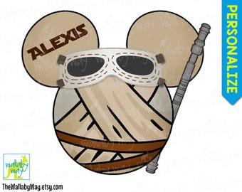 Rey Star Wars Mickey Head Printable Disney Iron On Transfer or Use as Clip Art - The Force Awakens, DIY Disney Shirt, Mickey Ears, StarWars