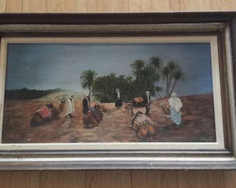 SALE Mid Century Arabian Desert Camel Scene Original Painting Wood Framed Wall Art