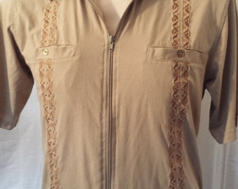 Vintage 1990's Men's Haband Embroidered zip up Shirt short sleeve banded bottom chest pockets tan sz S  M