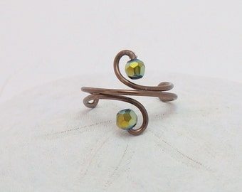 Antique Brass Wire Ear Cuff   Wire Wrapped Copper Ear Cuff   Copper Wire Ear Vine   Copper Cuff and Green Crystals   Green Ear Cuff
