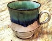 Reserved for Kati - Handmade Stoneware Coffee Mug in glossy dark blue and green glazes