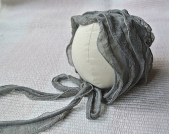 Newborn bonnet, grey ruffles photo prop