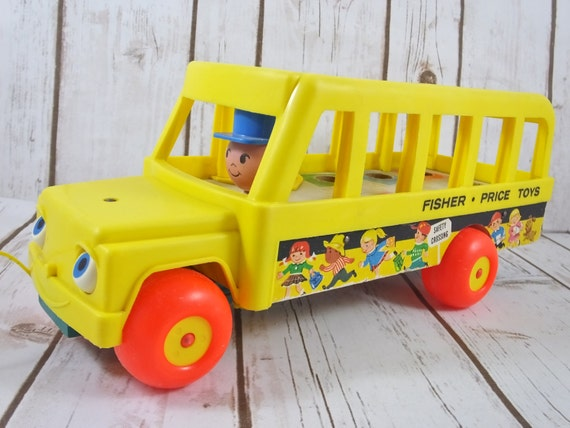 vintage fisher price classic yellow school bus toy 1965. Black Bedroom Furniture Sets. Home Design Ideas