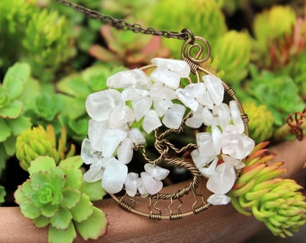 Brass Rose Quartz Tree of Life Wire Wrapped Spring Pendant - Protection Necklace - Spiritual Pendant