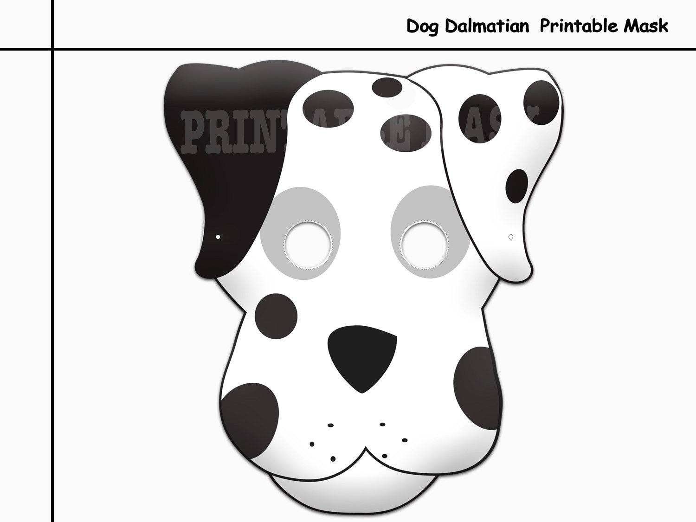 unique dog dalmatian printable mask party photo props