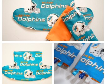 Miami Dolphins Baby carrier, Ergo 360 Bib, Zipper Pouch bag, Drool Pads: Baby Carrier Shoulder Strap Cover, sucking pads, diaper bag