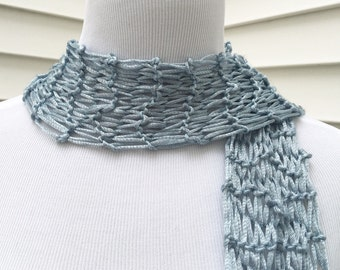 Blue Scarf Silver Scarf Silvery Blue Scarf Spring Scarf Easter Scarf Knitted Scarf