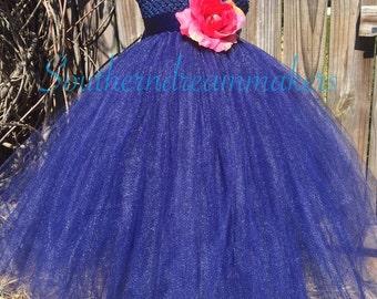 Flower Girl Tutu Dress-Navy Flower Girl Dress-Navy Tutu Dress-Navy Pageant Dress-Pageant Dress-Flower petal Dress