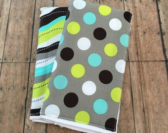 Blue yellow and green Burp cloth set