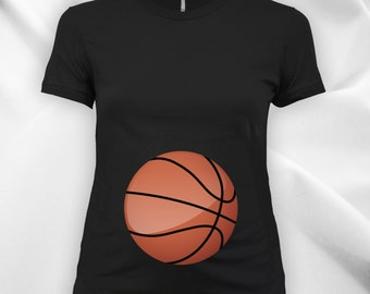 Basketball Belly Ladies Maternity scoop neck fine jersey tee, expecting mom, women's t-shirt, maternity tops, pregnancy t-shirt - CT-736