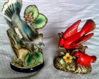 A Pair of Bird Figurines  Robin and Cardinal