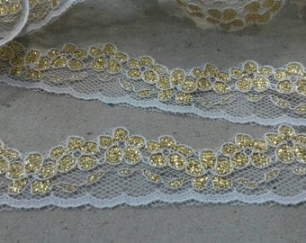 2 Yards GOLD and White Lace Trim Venise 3/4 Inch Wide