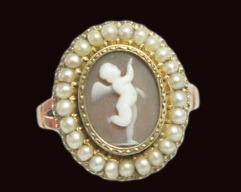 Georgian 15ct Rose Gold Cherub Cameo And Split Pearl Ring