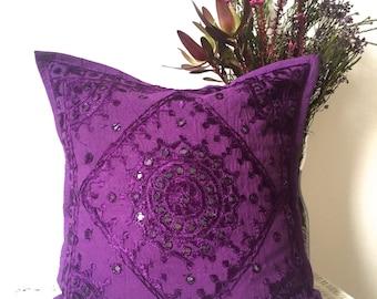 "Bohemian cushion cover hippie pillow cover in purple 16x16"""