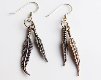 Vintage 925 Sterling Silver Large Feather Drop Earrings
