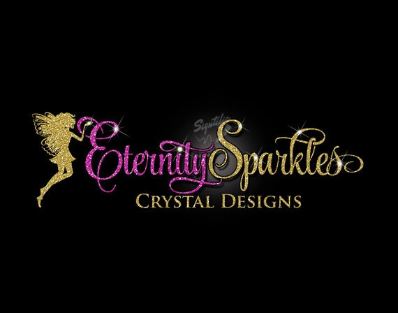 Glitter bling Custom Logo with Fairy, Glitter Fuchsia and gold Logo with Sparkles, Bling Hot Pink and Gold Shimmer Logo, Gold, Pink Glitters
