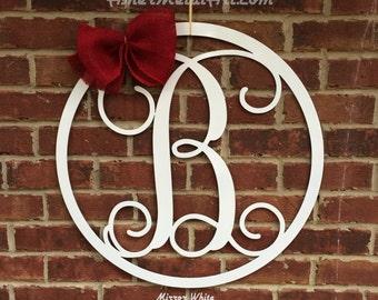 "18"" METAL MONOGRAM LETTER with circle border; wreath, door/wall hanging/initial"