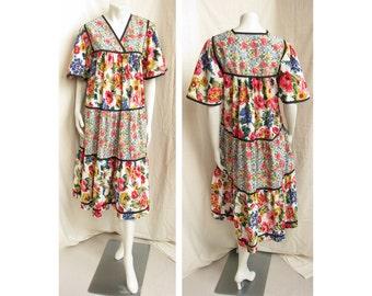 Vintage 1970s Bohemian Dress Light Mixed Floral Print Cotton Peasant Dress
