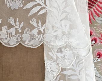 French Antique veil lace handmade, delicate floral motif, white, vintage wedding, Paris bride, french style princess grace waltz knee length