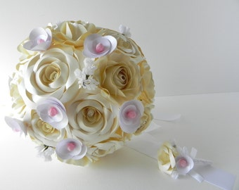 Pearly White Rose Custom Wedding Bouquet with matching boutonniere