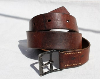Vintage Swiss Army Leather Belt from 1936, 40 inches / 102 cm long