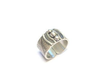 Ethnic ring silver serious Massif - Paraty