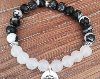 Zebra Stone and Snow Quartz Lotus Bracelet, Yoga Bracelets, Wellness Bracelet, Spiritual Jewelry, Harmony Bracelet, Gift Ideas for Her