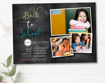 Back to School Mini Session Template, Mini Session Marketing Board, Photoshop Templates for Photographers - INSTANT DOWNLOAD
