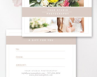 Photography Gift Certificate Template, Gift Card Templates, Photo Marketing, Digital Design Files, Photoshop Templates