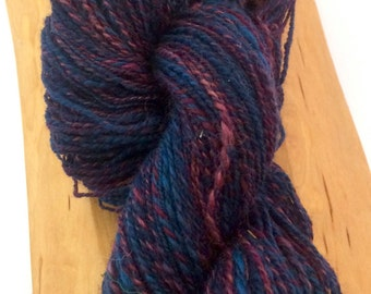 Variegated blues and purple hand spun