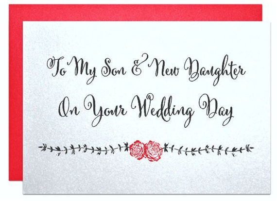 To My Son And New Daughter On Your Wedding Day Cards For