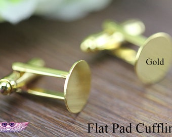 8mm Round Flat Pad Cufflinks blank, Glue Cufflink findings, Silver, Ant Bronze Cufflinks - Brass Cufflink Flat pad Cufflink Blanks