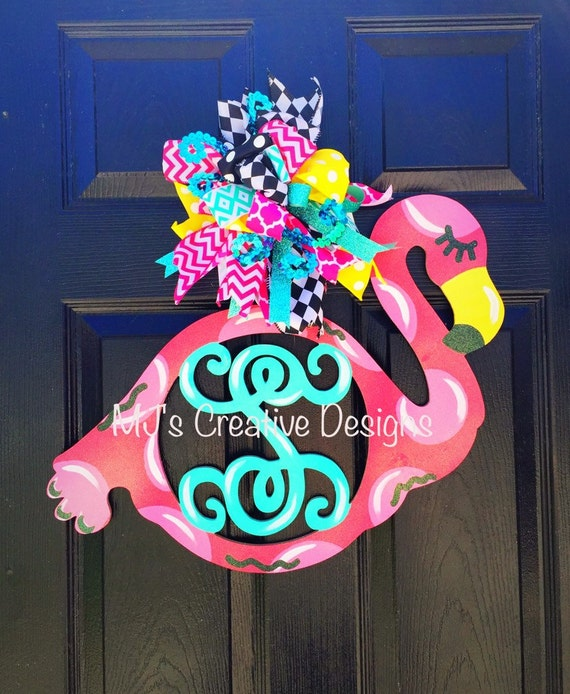 Summer Door Hanger Flamingo Monogram Door Hanger Monogram