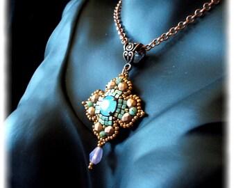 Cross, inspiration antique, copper pendant, opal green, renaissance, medieval, renaissance