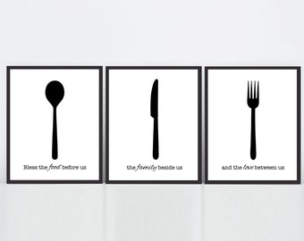 Kitchen Prints, Cutlery Prints, Kitchen Blessing, Bless the food before us, Black and White, Kitchen Utensils Prints, Kitchen Cutlery