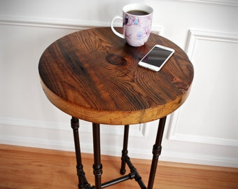 Round Industrial End Table, Industrial Nightstand, Reclaimed Wood End Table,  Industrial End Table