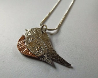 Robin Necklace, Bird necklace, Handmade, Sterling Silver and Copper. Unique. Twitcher. Bird watcher.