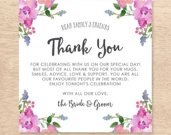 Wedding Thank You Place Card - Pink Flowers - Place Setting - Wedding Reception - Thank You - Wedding - Instant Download