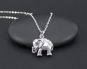 Elephant Necklace Sterling Silver Indian Elephant Charm Necklace, Boho Necklace, Small Rustic Necklace, Good Luck Necklace, Animal Necklace