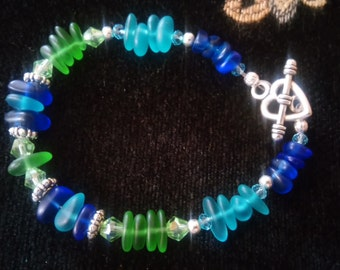"Blue and Green ""sea glass"" bracelet"