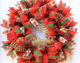 Christmas Wreath, Burlap Christmas wreath, Christmas Burlap, Winter Wreath, Holiday Wreath, Front Door Wreath, wreath for Christmas