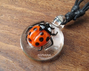 1 Piece - Lady Bug Glass Pendant Critters with Adjustable Black Cord (Free Shipping from Thailand)!!!